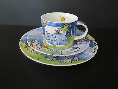 """Childrens 3 Piece """"elephant And Mouse"""" Decorated Plate, Mug And Saucer"""