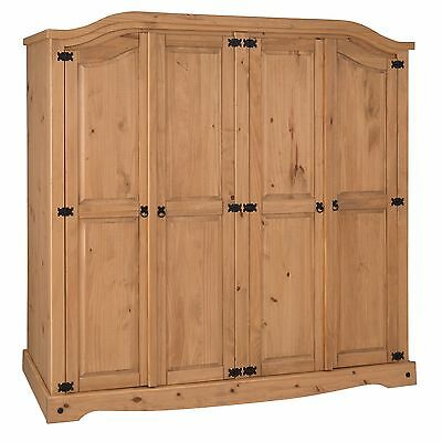 Mercers Furniture® Corona Mexican Pine 4 Door Arch Top Wardrobe