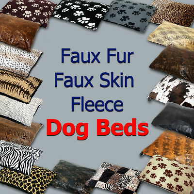 Faux Fur, Faux Reptile & Snake Skin, Soft Fleece Dog Pet Bed Cover Large + Inner