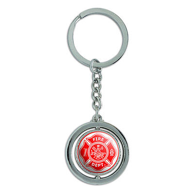 Firefighter Firemen Maltese Cross Red Spinning Metal Key Chain Keychain Ring