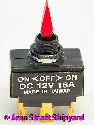 Marine Boat Rod Red Lighted Paddle DPDT Toggle Switch 3 Position On Off On 12221