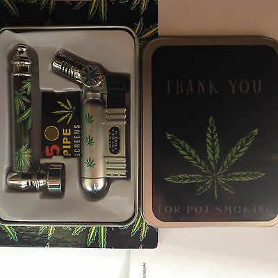 Smokers set inc Tobacco Tin, Pipe, Pipe Screens and Windproof Lighter
