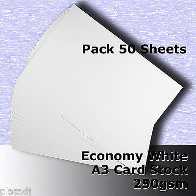 50 Sheets Economy Card Stock WHITE A3 Size 250gsm #H5368