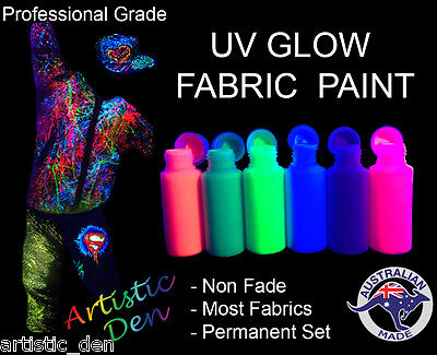 UV GLOW NEON FABRIC PAINT Rave Party Splatter - Artistic Den