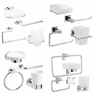 Bathroom Accessory Set 4 Piece Toilet Paper Toothbrush Soap Dish Holder Fittings