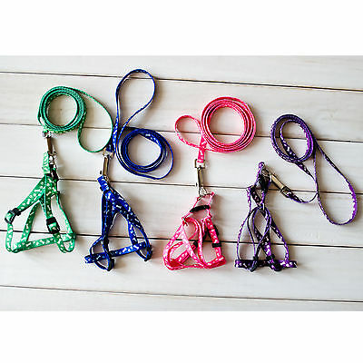 New Small Pet Harness Dog Cat Cloth Collars and Leashes Set 1 cm wide