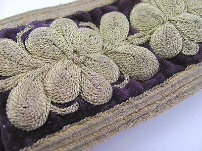 19C. ANTIQUE TURKISH OTTOMAN ISLAMIC FOLK WOOL & VELVET BELT w/GOLDEN THREAD