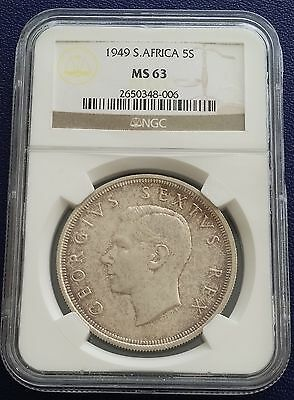 1949 South Africa 5 Shillings KM# 40.1 Silver Crown NGC MS63