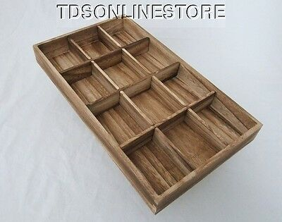 Rustic Antique Oak Color Jewelry Display / Sorting Tray With 12 Slots