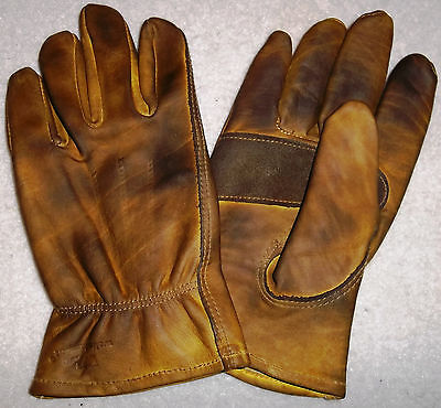 Custom Waxed Oiled Distressed Leather Cowhide Motorcycle Gloves Chopper Vintage