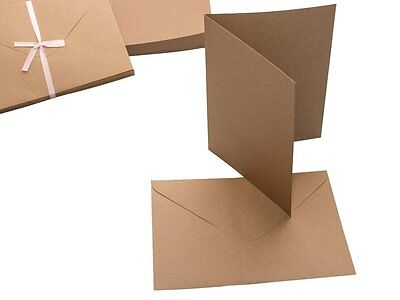 "5""x7"" RECYCLED KRAFT x 50  CARD BLANKS & ENVELOPES PLAIN NATURAL BROWN"