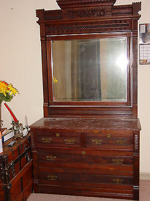 Eastlake antique dresser with mirror & marble top 4 drawers