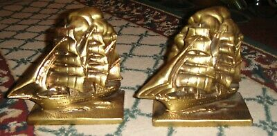Vintage Brass Metal Nautical Bookends-10LB Pair-Old Sailing Ships-Pair-LQQK