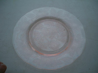 "Macbeath Evans Dogwood Pink 8"" plate made from 1930-1934 Depression glass"