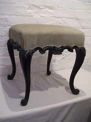Large Antique Victorian Carved Mahogany Cabriole Leg Stool