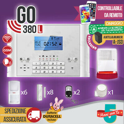 Kit Antifurto Casa Allarme Touch Screen Combinatore Gsm / App Wireless Go380L