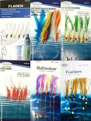 6 Packs assorted feathers lure cod mackerel pollack herring sea fishing (Pack B)