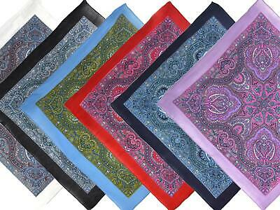 "NEW S Paisley Print Bandana/Scarf Bikers 5 Colours Middle Eastern 60s 21"" x 21"""