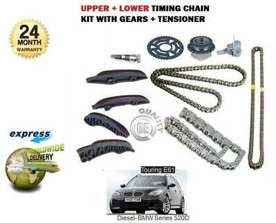 For Bmw Touring 520D E61 N47D20A 177Bhp 2007-> Upper + Lower Timing Chain Kit