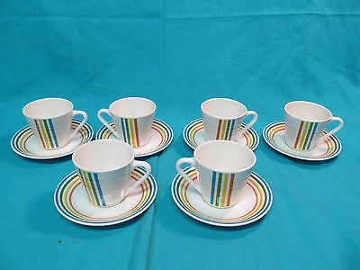 SYRACUSE CHINA SPECTRUM CUP & SAUCER 6 SETS