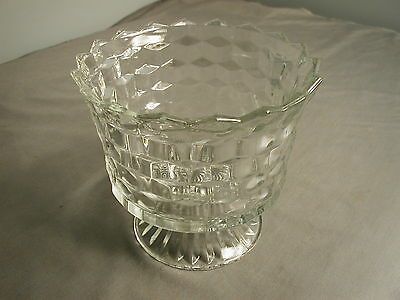 """VINTAGE FOSTORIA AMERICAN COMPOTE - FOOTED - CLEAR GLASS - SIGNED HOMCO - 5 1/2"""""""