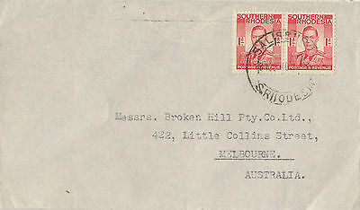 Stamps Southern Rhodesia 1d KGV1 pair on 1946 cover to Broken Hill Co Australia