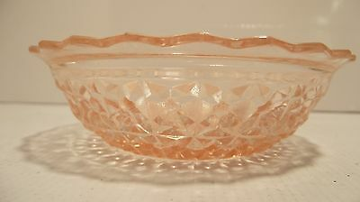 VTG Pink Depression Fruit Dessert Bowl Holiday Buttons/Bows by Jeannete Glass Co