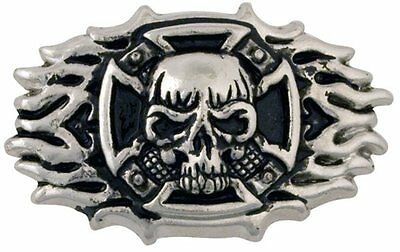 "Skull Cross Frame Cycle Concho 2"" (5.1cm)x 1-1/2"" (38mm) Tandy Leather 71502-01"