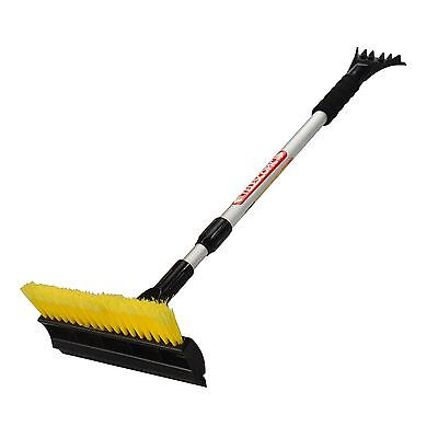 3 in 1 Heavy Duty Snow Brush With Telescopic Extendable Ice Scraper Handle