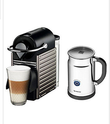 NESPRESSO PIXIE Electric Aluminium Bundle with an Aeroccino and a 16 mixed caps