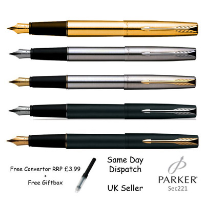 PARKER FRONTIER STAINLESS STEEL FOUNTAIN PEN - Matte Black, Chrome , Gold