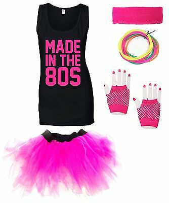 MADE IN THE 80s Ladies Vest Outfit Fancy Dress Costume Neon Tutu 80's Gloves