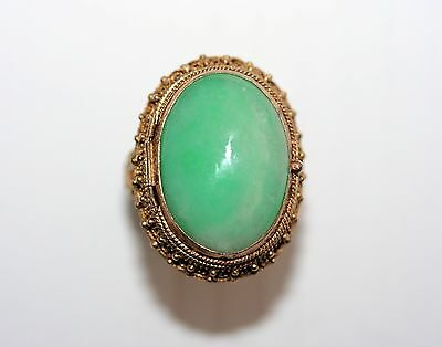 Vintage Chinese Gilded Silver Filigree Large Natural Jade Poison Ring 10.6 Grams