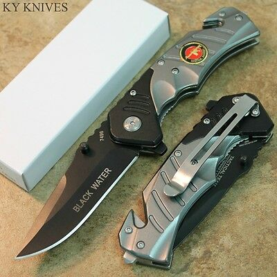 """7.5"""" Gray Special Forces Black Water Assisted Open Rescue Pocket Knife 7496 zix"""