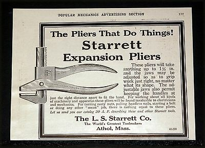 1914 Old Magazine Print Ad, Starrett Expansion Plier, The Pliers That Do Things!