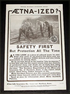 1914 Old Magazine Print Ad, Aetna-Ized Safety First All The Time, Railroad Crew!