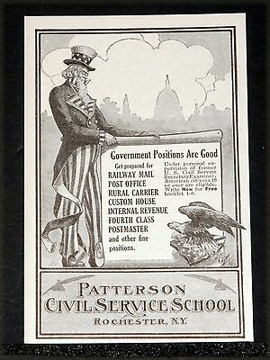1914 Old Magazine Print Ad, Pattersons Civil Service School, Nice Uncle Sam Art!