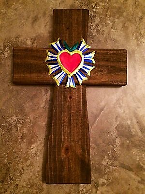 WaLL CRoSS ReCLaiMEd WooD MeXiCAN MiLaGRoS TiN SaCReD HeaRT RePouSSe FoLk ArT