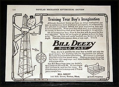 1914 Old Magazine Print Ad, Bill Deezy Construction Toy, Boys Learn To Create!