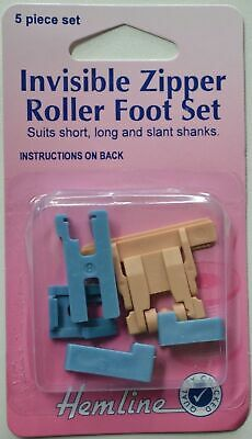 Hemline Invisible Zipper Roller Foot Set, Low Slant, High Shank or Clip, 5 Piece