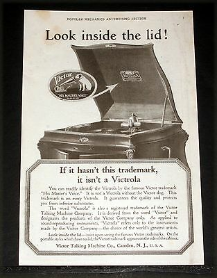 1919 Old Magazine Print Ad, Victor Victrola, Look Inside The Lid For Trademark!