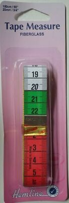 "Hemline Tape Measure Fibreglass, 150cm (60"") 20mm, Bright 10cm Segments For ease"