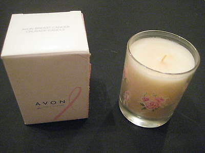 AVON BREAST CANCER CRUSADE GLASS FLORAL CANDLE - NEW IN BOX