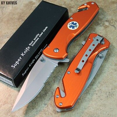 "8"" Orange EMS Tactical Assisted Open Rescue Pocket Knife YC-S-365-EMS zix"