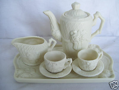 World Bazaars Floral Tea set Tray 2 cups 2 Saucers Creamer Tea Pot Mint In Box