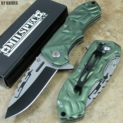 "7.5"" Green Assisted Open Tactical Rescue Pocket Knife NEW 8344-GN zix"