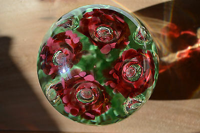 Massive Glass PaperWeight 3 & 3/4 lb.Vintage Trumpet Ice Pick Flowers St. Clair