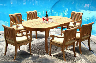 7 Pc Teak Dining Set Garden Outdoor Patio Furniture D03 - Giva Collection