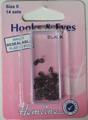 Hemline Hooks & Eyes, Black, Size 0, 14 Sets, Re-Usable Box