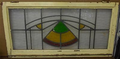 """OLD ENGLISH LEADED STAINED GLASS WINDOW TRANSOM  Geometric design 38.75""""x19.75"""""""